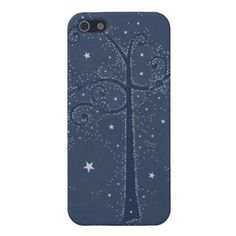 Indigo Sparkle Stars Scroll Tree at Night Cases For iPhone 5