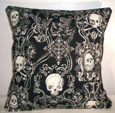 BLACK TOILE SKULLS CUSHION COVER. http://cagedcanarynz.blogspot.co.nz/