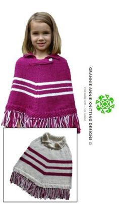Poncho, Small, Medium and Large knitting pattern