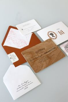 Wood veneer duplexed with white cotton paper. Letterpress invite. #letterpress #invitation