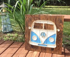 Handmade VW Bus with Rope Beach Pallet Art