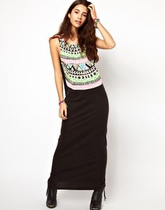 ASOS Maxi Dress With Tribal Necklace Print /  Maxi dress by ASOS Collection - Made from 100% pure cotton. - Scoop neckline with tribal necklace print. - Sleeveless styling. - Fluid maxi length cut.