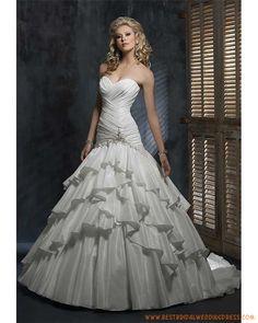 multi layer ruched Taffeta Traditional wedding dresses