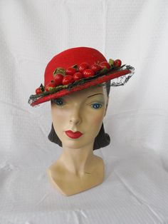 Vintage Red Straw Hat with Cherries .. 1940s