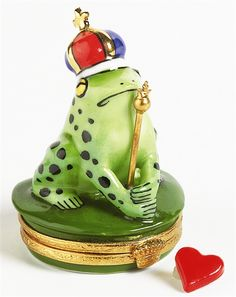 Limoges.com - Online Shopping for Genuine Limoges Porcelain Boxes Imported From France - Frog With Blue & Red Crown Genuine Limoges Box