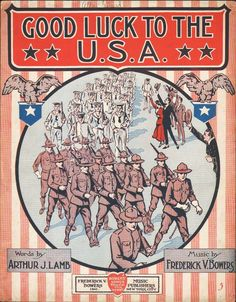 Good Luck to the USA 1917 Lamb & Bowers WWI Sheet Music MARCHING SOLDIERS!