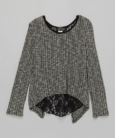 Another great find on #zulily! Black & White Lace Knot-Back Sweater #zulilyfinds