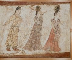 Mural of females c710 pigments on plaster excavated from the tomb of Li Chongjun, Prince Jiemin, in Fuping, Weinan, 1995 Shaanxi Provincial Institute of Archaeology