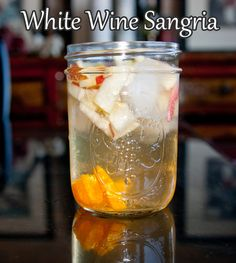 White wine sangria recipe. Just under 200 calories per glass. This refreshing drink is full of fresh fruit - perfect for a summer evening!