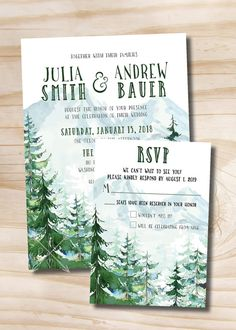 Watercolor Pine Tree Wedding Invitation and Response - Digital design files >>> HOW IT WORKS <<< Once an order is placed we will follow up requesting all the details (size, color & text). Within 24-48 hours we will provide you with your first proof. From there we ask up to 24-48 hours for any additional changes requested. We have a max of 3 rounds of proofs before an additional fee of $5 is added. >>> WANT US TO PRINT <<< We now offer professional printing with envelopes - send us a…