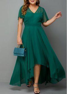 Plus Size Dark Green Chiffon Maxi Dress Plus Size High Waist Side Zipper Chiffon Dress Plus Size Occasion Dresses, Plus Size Party Dresses, Evening Dresses Plus Size, Tea Length Dresses, Plus Size Maxi Dresses, Dresses For Sale, Green Chiffon Dress, Green Party Dress, Green Wedding Dresses