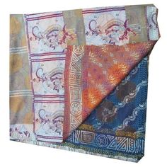 Vintage Silk Hand Quilted Kantha Circle Work Stoles Reversible Shawl Scarf 232