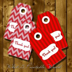 Thank You Tag red stripes and chevron gift by WhatAPrintableWorld