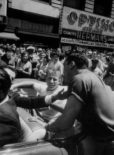 Mickey Mantle in a convertible during a New York parade in June 1956.