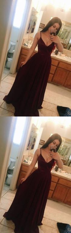 Sexy V Neck Prom Dress, Chiffon Prom Dress, Sleeveless Evening Party Dress,Charming Prom Dress, Long Prom Dresses, Burgundy Prom Dresses, Simple Prom Dresses, Woman Party Dresses #promdress #spaghettistrapslongprom #Vneckpromgown#