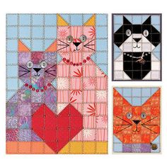 Here's a cute paper piecing pattern in honor of National Cat Day! Embellish it and make it a real masterpiece.