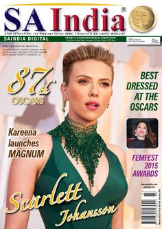 SAINDIA MARCH 2015  SAIndia is the premiere Indian News, Fashion, Lifestyle and Bollywood magazine. In this issue Madhuri Dxit receives honours, 87th Oscars, best dressed, Kareena launches Magnum, gossip and much more...