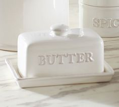 Our stoneware covered dish keeps butter cool and fresh.  A country kitchen classic.