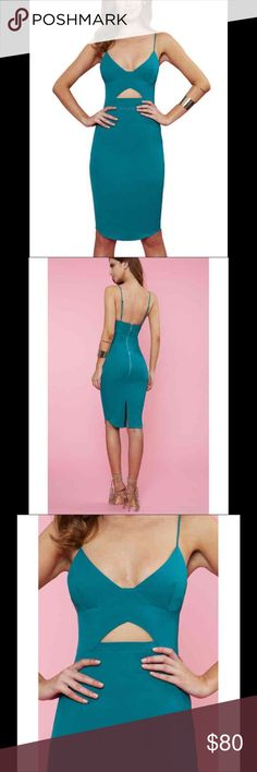 Runaway the Label Teal Murakesh XS Dress Teal dress.  XS.  True to size.  Cut out dress.  Runaway the Label Brand not Zara. Zara Dresses Midi