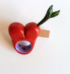 Red heart and arrow polymer clay ring by Lijoux