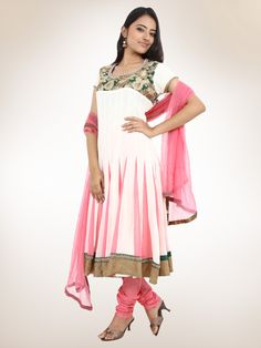 Cream Peach Goergette Anarkali Suit