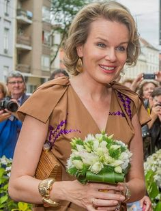 Queen Mathilde and King Philippe of Belgium visited the exhibition of 'The Birth of Capitalism - The Golden age of Flanders' at the Provincial Cultural Center on July 8, 2016 in Ghent, Belgium.