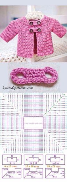 new ideas crochet baby jacket tutorial free pattern Pull Crochet, Crochet Bebe, Crochet Girls, Crochet For Kids, Crochet Hats, Free Crochet, Baby Patterns, Knitting Patterns, Crochet Patterns