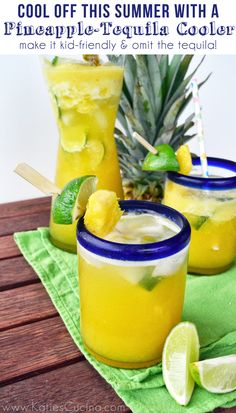 Pineapple-Tequila Cooler from KatiesCucina.com #recipe #drinks #summer