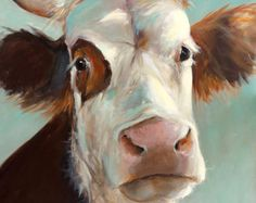 Cow Painting  Hattie  Paper print of an original painting by