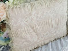 Antique-French-Net-And-Floral-Lace-Pink-Silk-Boudoir-Pillow-Victorian  Vintageblessings