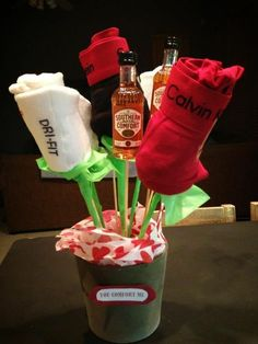 "DIY Valentines Day gift for him, ""you comfort me"" masculine bouquet: rose boxers, mini Soco bottles. DIY Valentines Day gift for him, you comfort me masculine bouquet: rose boxers, mini Soco bottles. Diy Valentines Day Gifts For Him, Funny Valentine, Homemade Valentines, Inexpensive Valentines Day Ideas, Valentines Day Husband, Valentines Day Gifts For Him Boyfriends, Holiday Fun, Holiday Gifts, Winter Holiday"