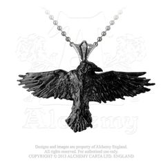 The Raven, a mediator between life and death. åÊ InåÊtwo-tone, blackened pewter with polished mount, this bird of omenåÊhas been a symbol of myth and legend for centuries. åÊ Approximate Dimension: Wi