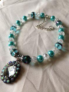 Pet Dog Necklace Aqua Blue and Clear Glass by LexingtonBaubles, $20.95