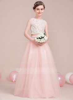 A-Line Princess Scoop Neck Floor-Length Beading Zipper Up Regular Straps  Sleeveless No Pearl Pink General Tulle Junior Bridesmaid Dress CLICK Visit  link ... d2e02968c243