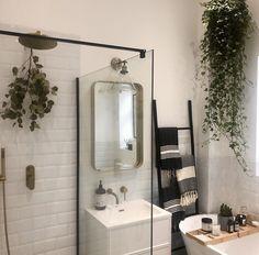 Rustic Bathroom Decor, Boho Bathroom, Small Bathroom, Bathroom Ideas, Bathrooms, Plants In The Shower, Shower Plant, Glass Shower, Eucalyptus Shower