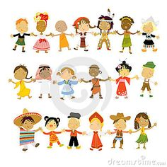 Children  of many races and cultures of the world, holding hands