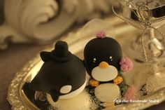 bride and groom orca whale and penguin Wedding Cake Topper