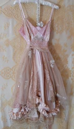 Pink nude lace baby doll slip dress beading  rose  romantic fairytale  by vintage opulence on Etsy (reserved for asterasterik)