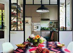 gray kitchen, black window frames