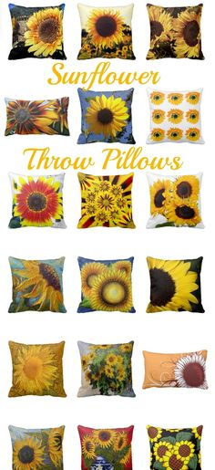 Sunflower Throw Pillows and Accent Cushions #sunflowers