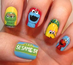 More sesame street nails but these are more detailed :)