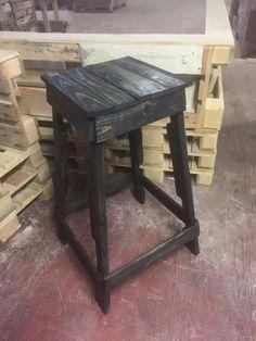 Rustic Black Pallet-Made #Stool - 14 Creative Pallet Furniture Ideas | 101 Pallet Ideas