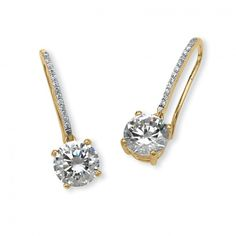 4.15 TCW Round Cubic Zirconia Drop Earrings in 14k Gold over Sterling Silver at Viomart.com