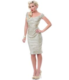 Stop Staring Gold Fortune Wiggle Dress - Unique Vintage - Cocktail, Pinup, Holiday & Prom Dresses.