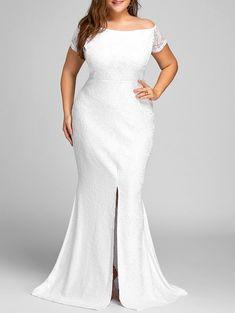Off The Shoulder Lace Slit Plus Size Dress - White Short Sleeves Spring Prom Dresses For Sale, Plus Size Maxi Dresses, Plus Size Outfits, Sheath Dresses, Ivory Dresses, Event Dresses, Dresses Dresses, Summer Dresses, Bride Dresses