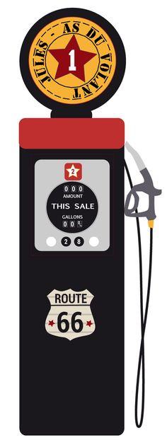 L''authentique pompe à essence de la route 66 en sticker pour décorer la chambre de votre garçon.
