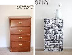 For this project I took an out-of-date dresser and updated it with a little photo revamp. First I edited all the photographs to black and white with a high contrast. Then I mod podged the photographs all over the dresser and replaced the hardware with black handles.