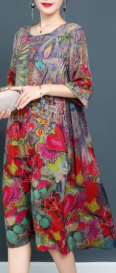 Elegant Printed silk Dress for Women Source by daylilycottage dress summer Dresses For Teens, Trendy Dresses, Casual Dresses For Women, Clothes For Women, Loose Dresses, Unique Outfits, Cool Outfits, Casual Outfits, Fashion Outfits