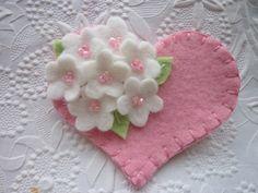 Felt Flower Brooch Pink Heart with Beaded by pennysbykristie, $14.50