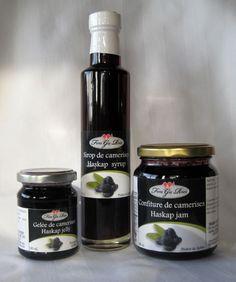 Our haskap products : jam, syrup and jelly.  Nos produits à base de camerises : confiture, sirop et gelée.